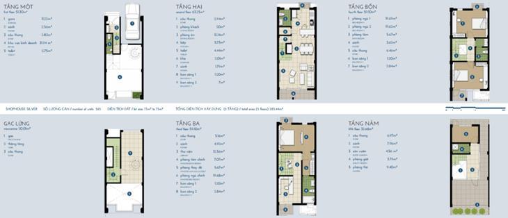 Nhà phố The Manor bạc 4 tầng + gác: 285,5m2