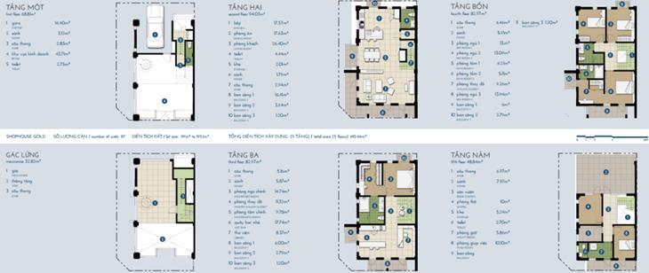 Nhà phố The Manor vàng 4 tầng + gác: 410,44m2