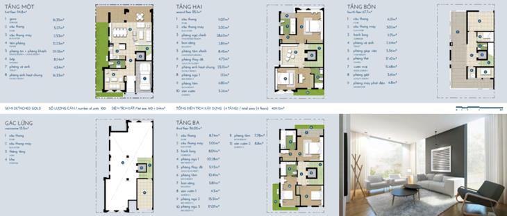 Biệt thự The Manor vàng 4 tầng + gác: 413m2
