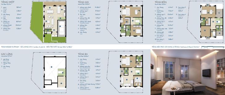 Liền kề The Manor bạch kim 4 tầng + gác: 354,9m2