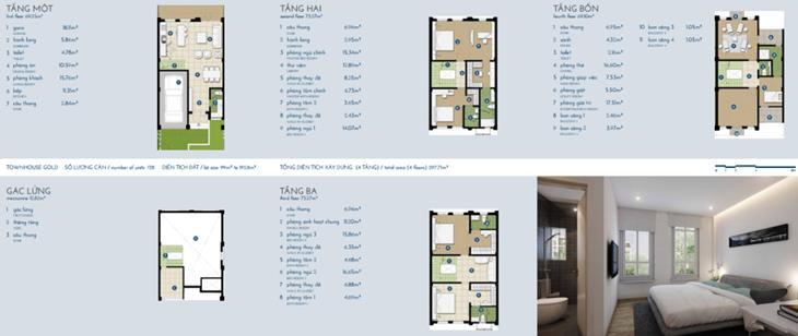Liền kề The Manor vàng 4 tầng + gác: 297m2