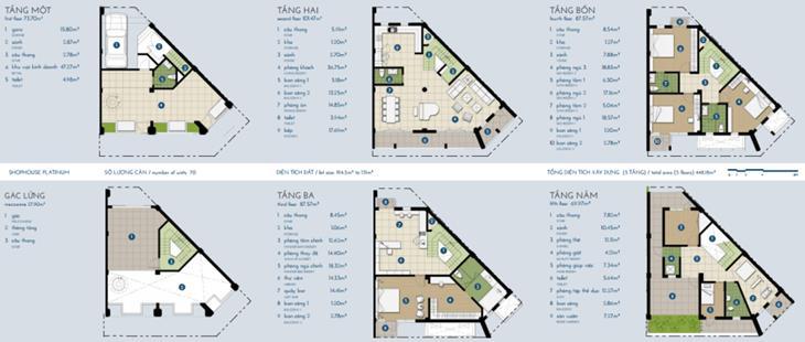 Nhà phố The Manor bạch kim 4 tầng + gác: 448,18m2