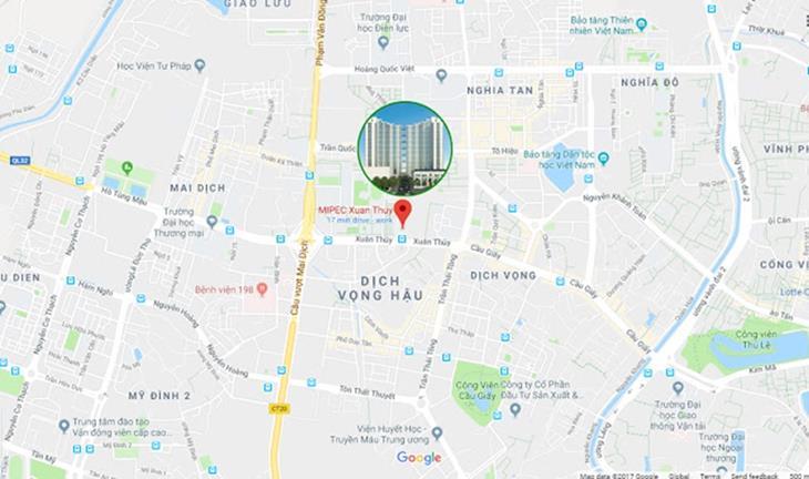 Vị trí dự án Mipec Rubik 360 Xuân Thủy trên Google Map
