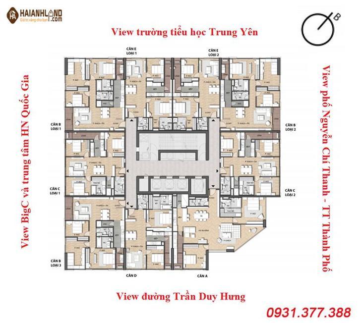 Mặt bằng dự án Chung cư Summit Building 216 Trần Duy Hưng