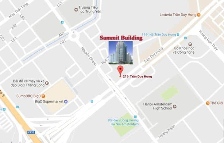 Vị trí Dự án Chung cư Summit Building 216 Trần Duy Hưng