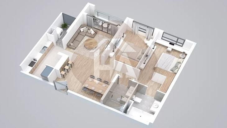 Mô hình căn hộ 2 phòng ngủ