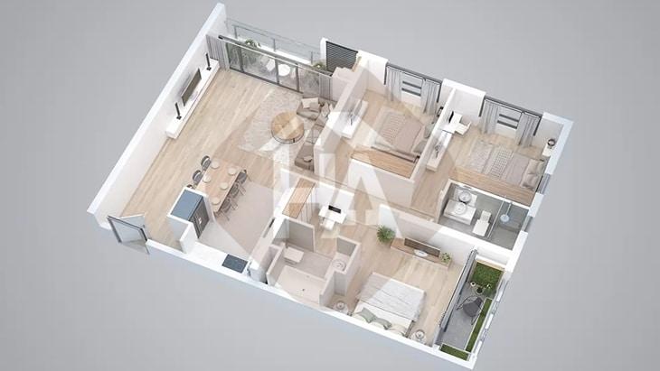 Mô hình căn hộ 3 phòng ngủ