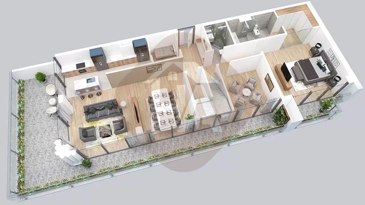 Mô hình tầng 1 căn hộ Penthouse