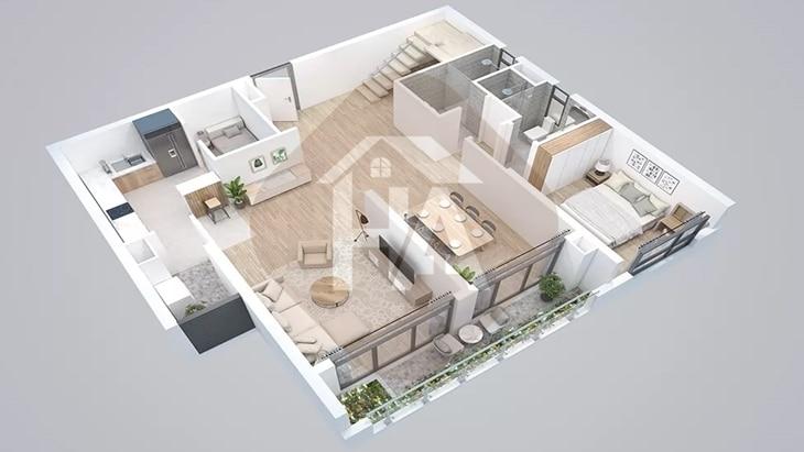 Mô hình tầng 1 căn hộ thông tầng