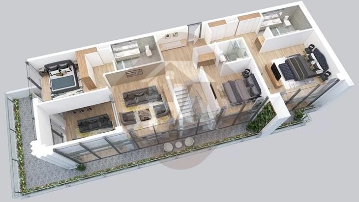 Mô hình tầng 2 căn hộ Penthouse