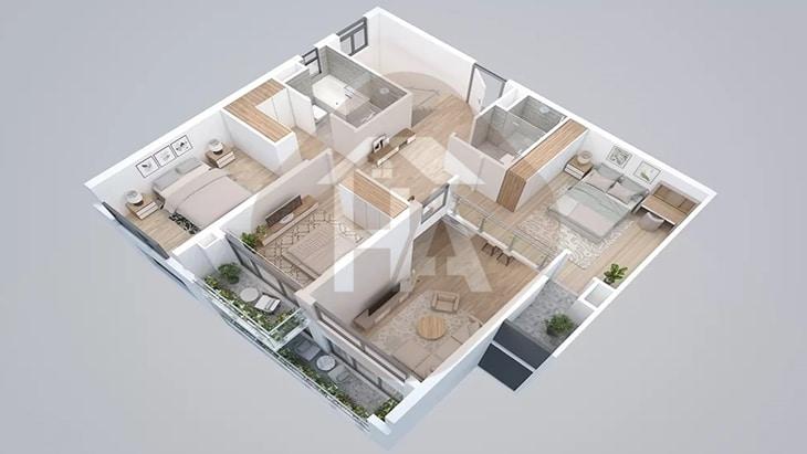 Mô hình tầng 2 căn hộ thông tầng