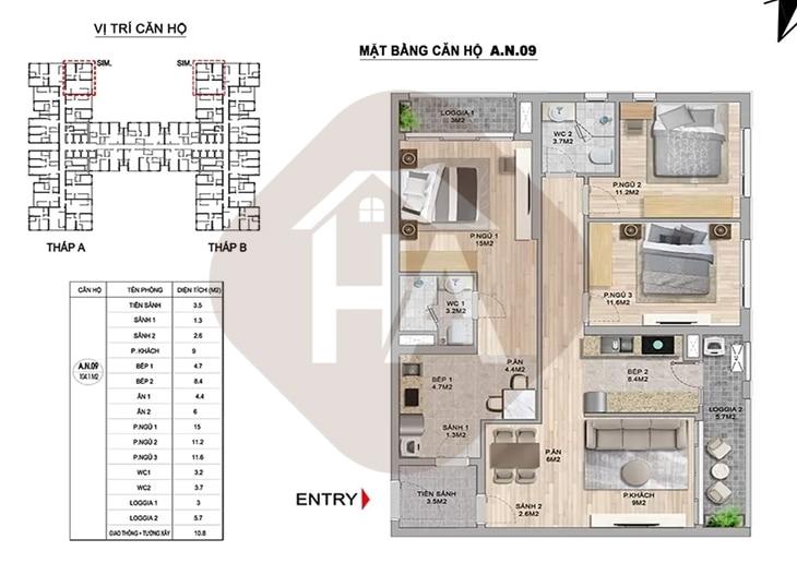 Mặt bằng thiết kế căn hộ 2 chìa khóa