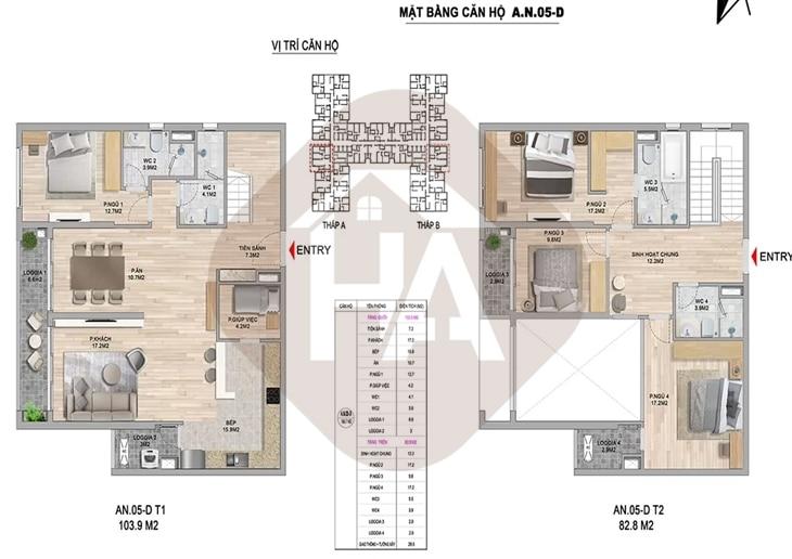 Mặt bằng thiết kế căn hộ thông tầng