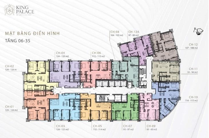 Mặt bằng Chung cư King Palace 108 Nguyễn Trãi tầng 06-35