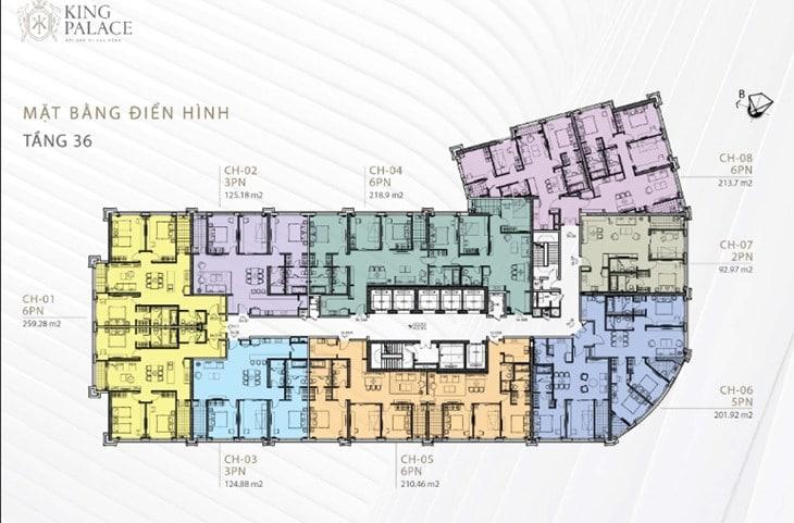Mặt bằng Chung cư King Palace 108 Nguyễn Trãi tầng 36