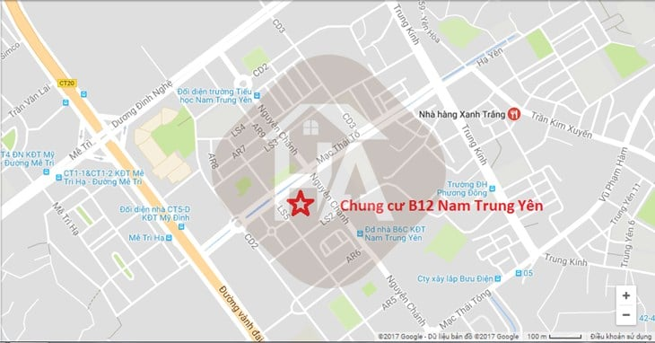 Vị trí Dự án Chung cư B12 Nam Trung Yên