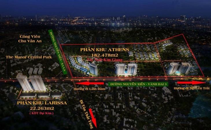 Vị trí shophouse dự án Larissa Khu đô thị Đại Kim