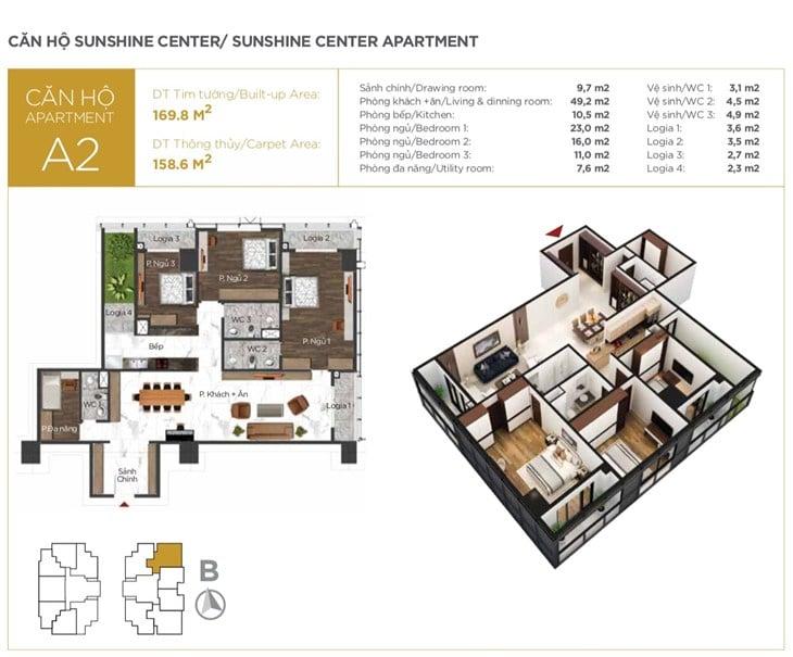 Mặt bằng căn hộ Chung cư Sunshine center 16 Phạm Hùng 2