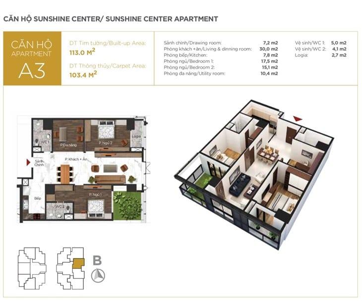Mặt bằng căn hộ Chung cư Sunshine center 16 Phạm Hùng 3