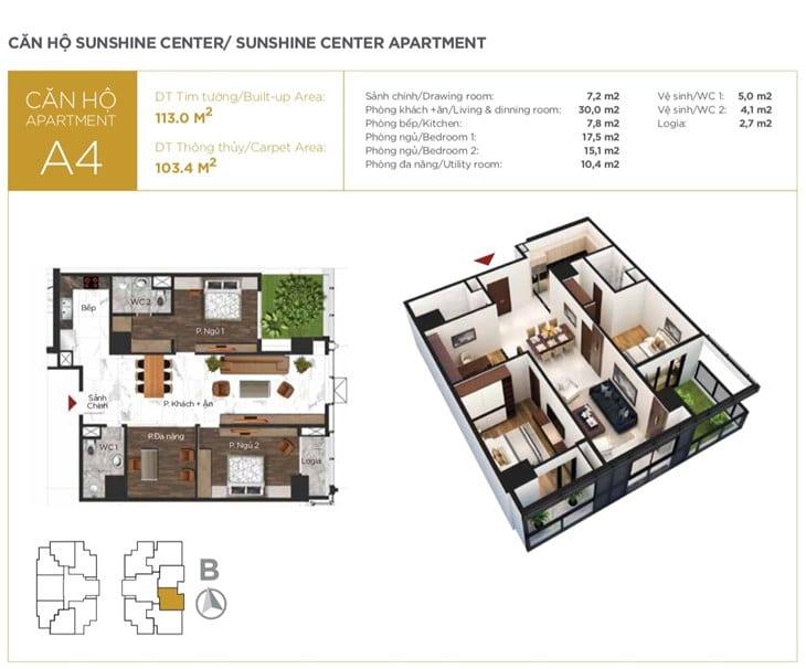 Mặt bằng căn hộ Chung cư Sunshine center 16 Phạm Hùng 4
