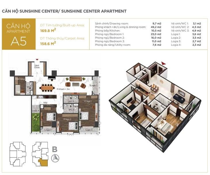 Mặt bằng căn hộ Chung cư Sunshine center 16 Phạm Hùng 5