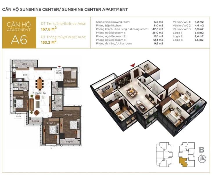 Mặt bằng căn hộ Chung cư Sunshine center 16 Phạm Hùng 6