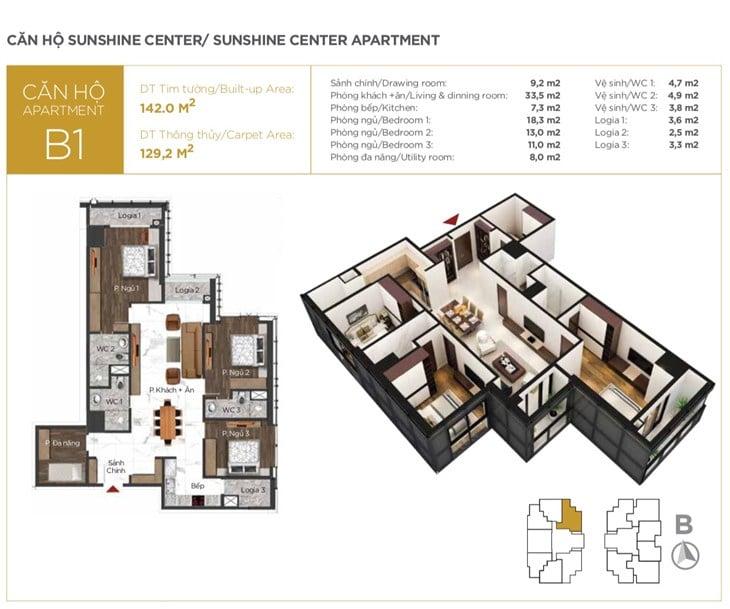 Mặt bằng căn hộ Chung cư Sunshine center 16 Phạm Hùng 7