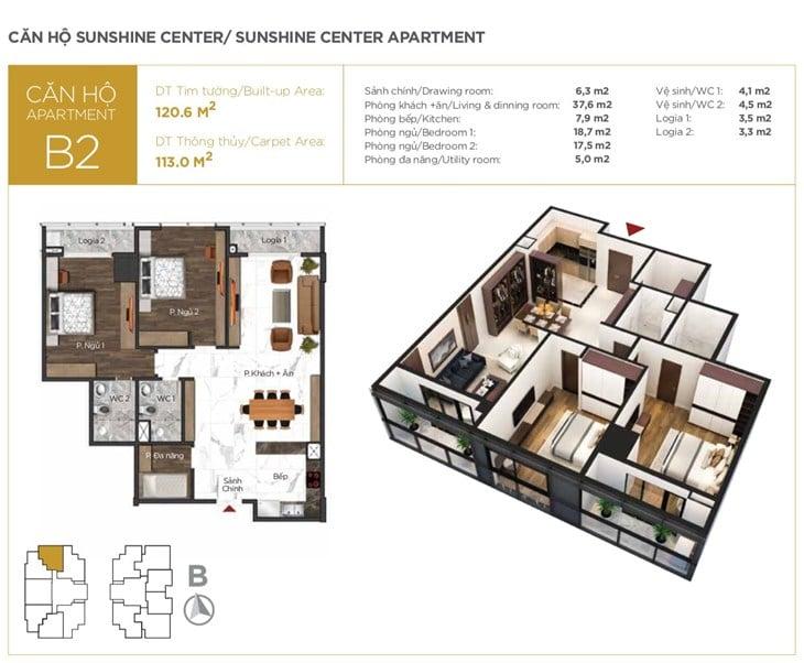 Mặt bằng căn hộ A1 Chung cư Sunshine center