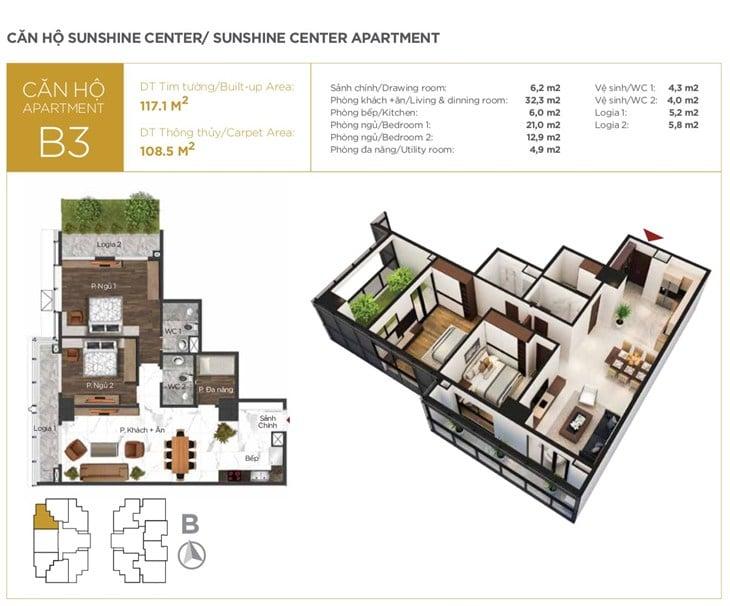 Mặt bằng căn hộ B3 Chung cư Sunshine center