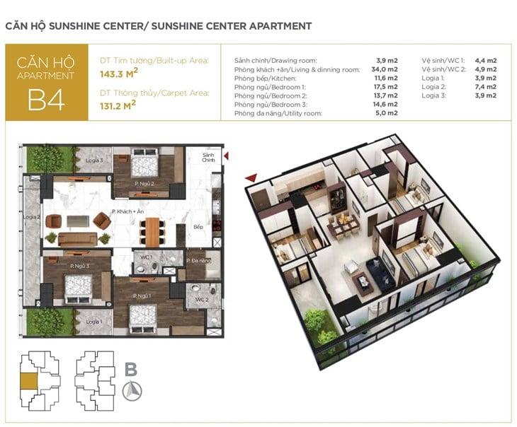 Mặt bằng căn hộ B4 Chung cư Sunshine center