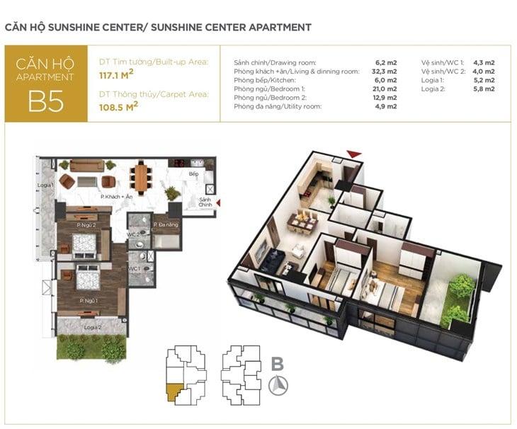 Mặt bằng căn hộ B5 Chung cư Sunshine center