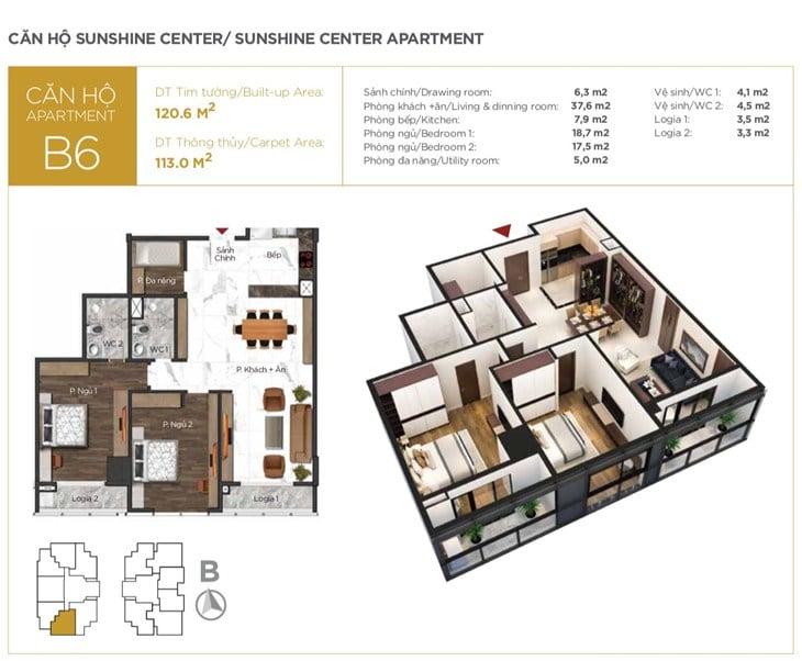 Mặt bằng căn hộ B6 Chung cư Sunshine center