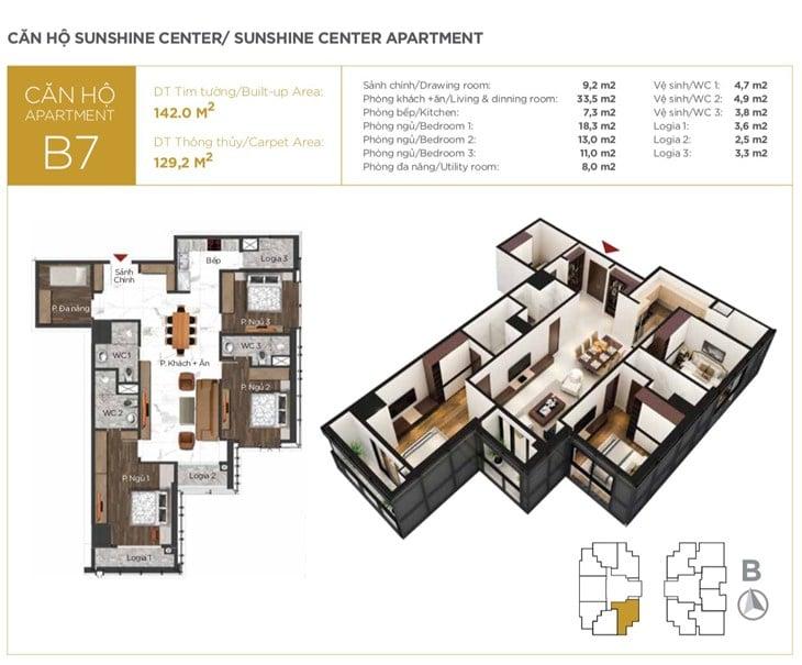 Mặt bằng căn hộ B7 Chung cư Sunshine center