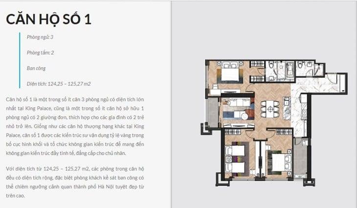 Thiết kế căn hộ Chung cư King Palace 108 Nguyễn Trãi số 1