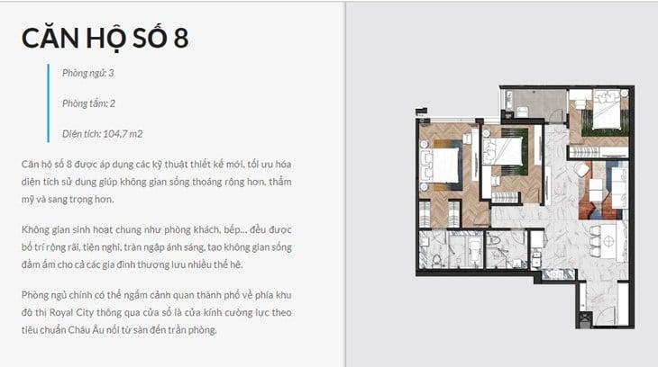 Thiết kế căn hộ Chung cư King Palace 108 Nguyễn Trãi số 8