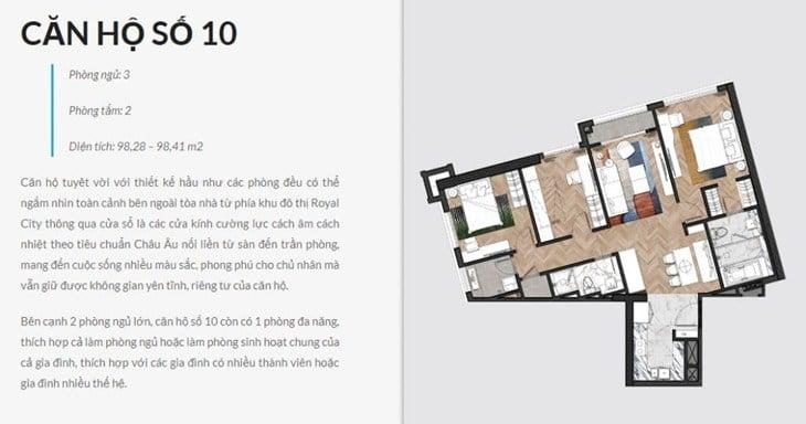 Thiết kế căn hộ Chung cư King Palace 108 Nguyễn Trãi số 10