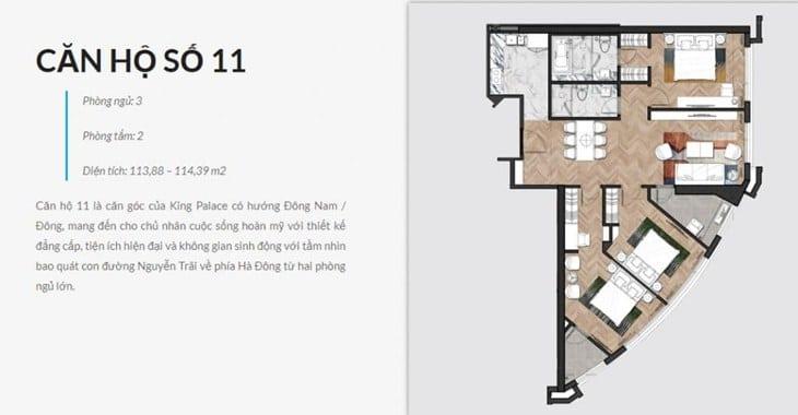 Thiết kế căn hộ Chung cư King Palace 108 Nguyễn Trãi số 11