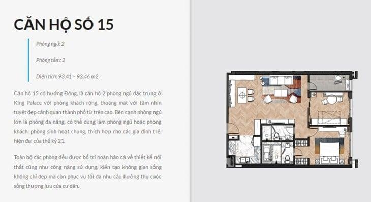 Thiết kế căn hộ Chung cư King Palace 108 Nguyễn Trãi số 15