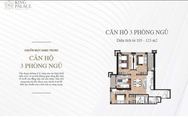 Mặt bằng Chung cư King Palace 108 Nguyễn Trãi 3PN