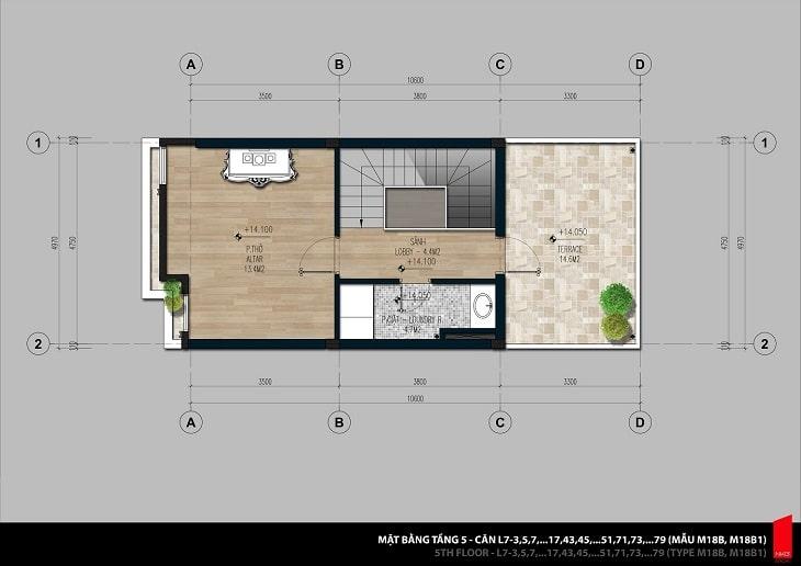 Mặt bằng thiết kế chi tiết căn hộ Shophouse tầng 5