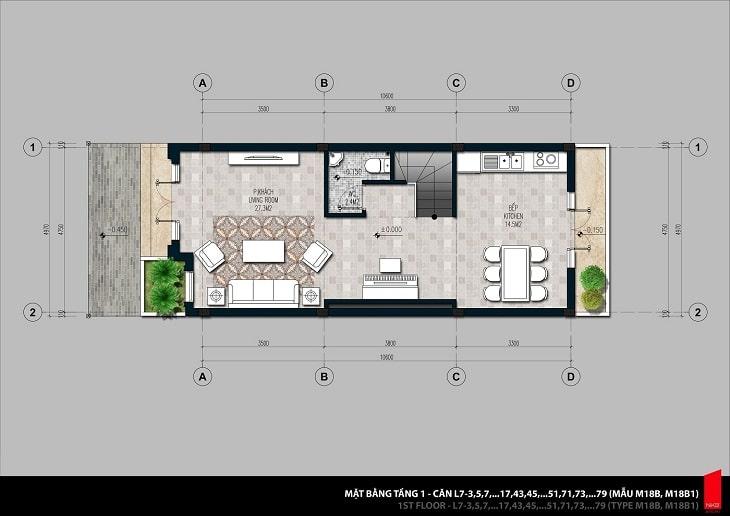 Mặt bằng thiết kế chi tiết căn hộ Shophouse tầng 1