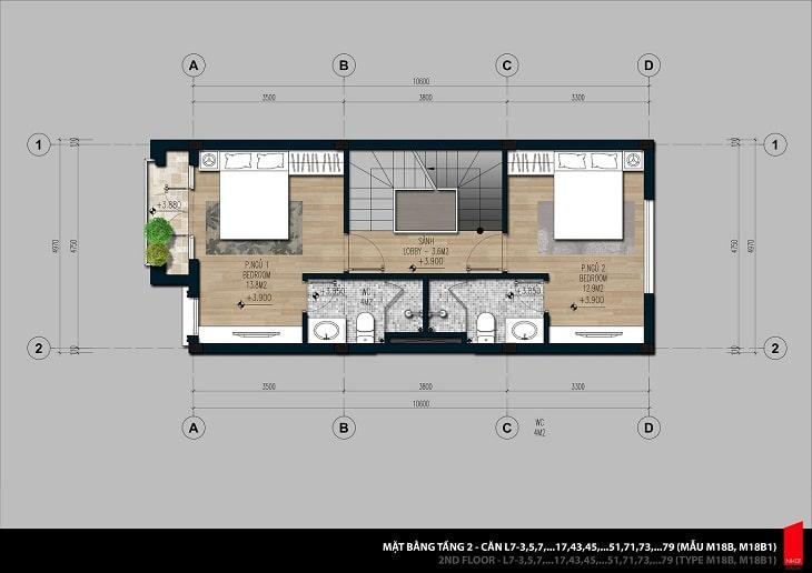 Mặt bằng thiết kế chi tiết căn hộ Shophouse tầng 2
