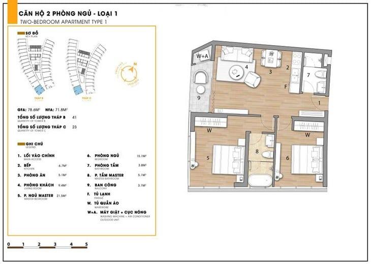 Mặt bằng căn hộ dự án Codotel Ninh Chữ Sailing Bay Ninh Thuận 3