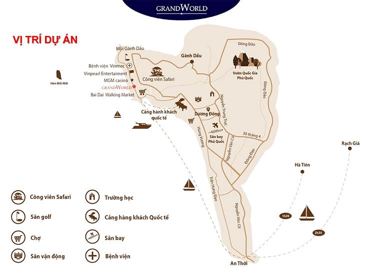 Vị trí Dự án Codotel Grand World Phú Quốc
