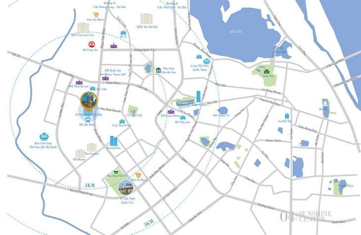 Vị trí Dự án Chung cư Sunshine center 16 Phạm Hùng