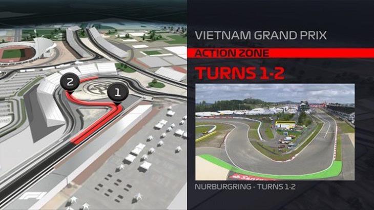 Góc cua số 1 và số 2 tại đường đua F1 Việt Nam