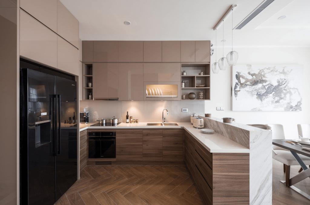Phòng bếp và phòng khách liền kề nhau